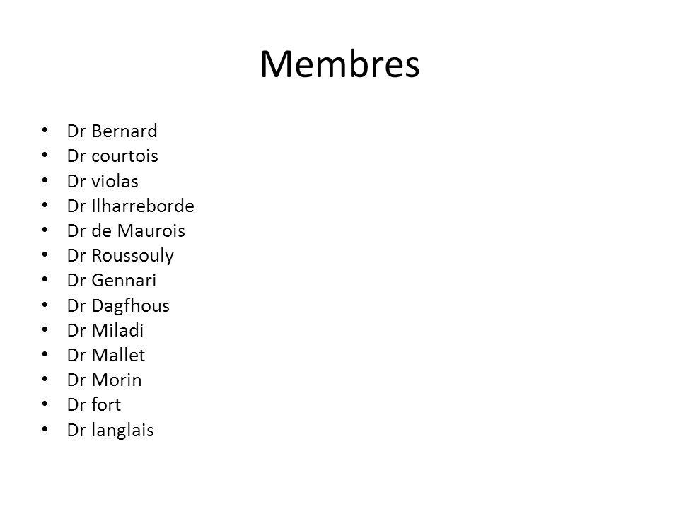 Membres Dr Bernard Dr courtois Dr violas Dr Ilharreborde Dr de Maurois Dr Roussouly Dr Gennari Dr Dagfhous Dr Miladi Dr Mallet Dr Morin Dr fort Dr lan