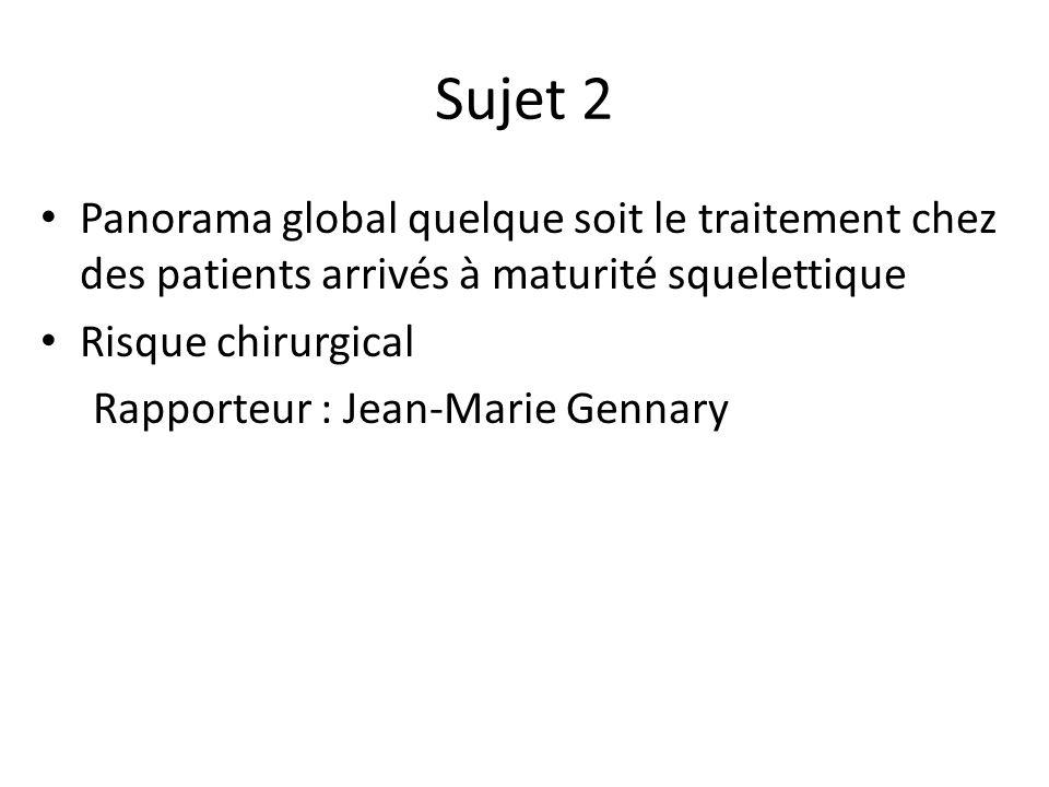 Sujet 2 Panorama global quelque soit le traitement chez des patients arrivés à maturité squelettique Risque chirurgical Rapporteur : Jean-Marie Gennary