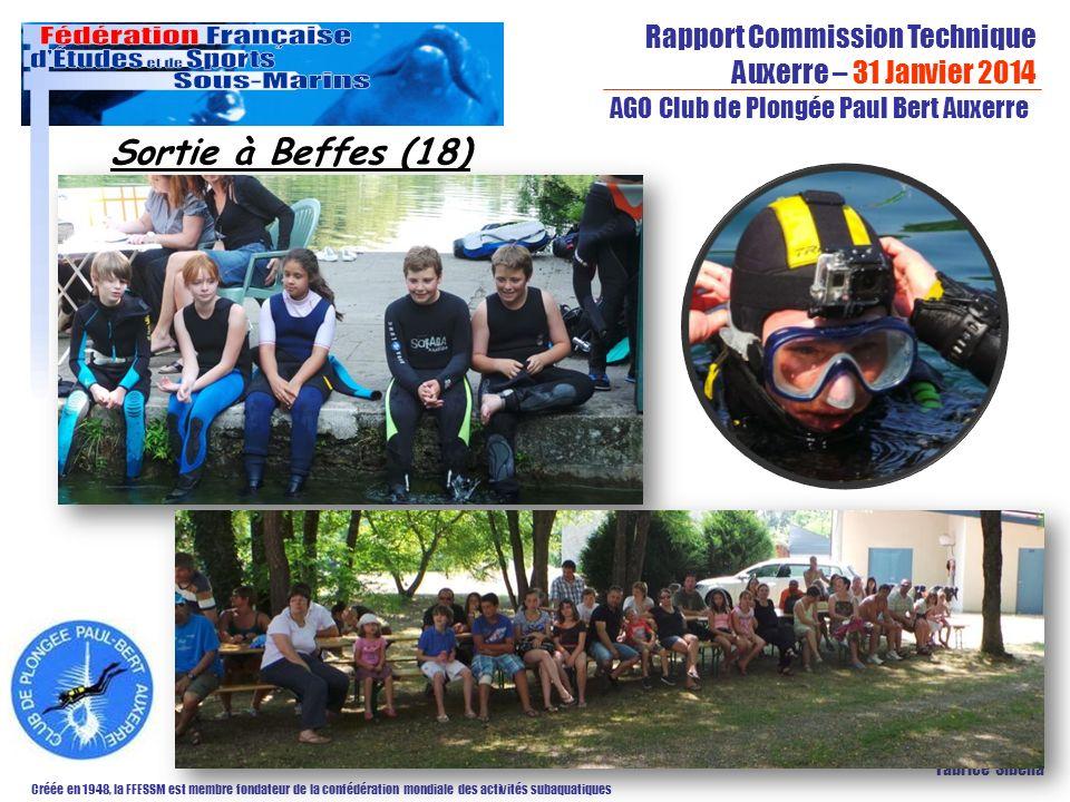 Rapport Commission Technique Auxerre – 31 Janvier 2014 Créée en 1948, la FFESSM est membre fondateur de la confédération mondiale des activités subaquatiques AGO Club de Plongée Paul Bert Auxerre Fabrice Sibella Sortie à Beffes (18)