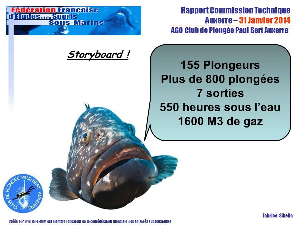 Rapport Commission Technique Auxerre – 31 Janvier 2014 Créée en 1948, la FFESSM est membre fondateur de la confédération mondiale des activités subaquatiques AGO Club de Plongée Paul Bert Auxerre Fabrice Sibella Storyboard .