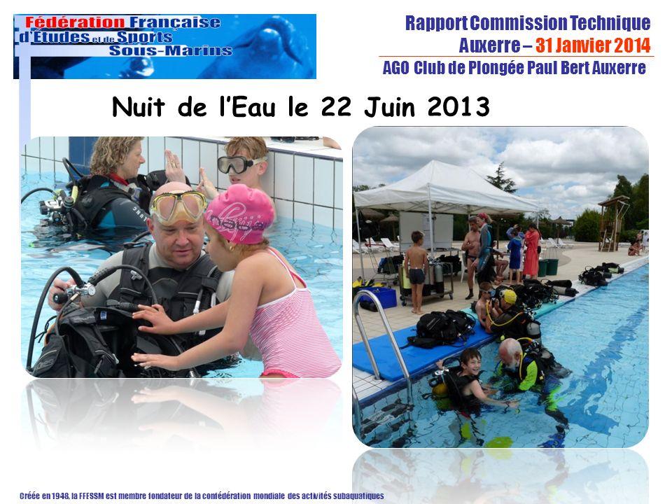 Rapport Commission Technique Auxerre – 31 Janvier 2014 Créée en 1948, la FFESSM est membre fondateur de la confédération mondiale des activités subaquatiques AGO Club de Plongée Paul Bert Auxerre Nuit de lEau le 22 Juin 2013