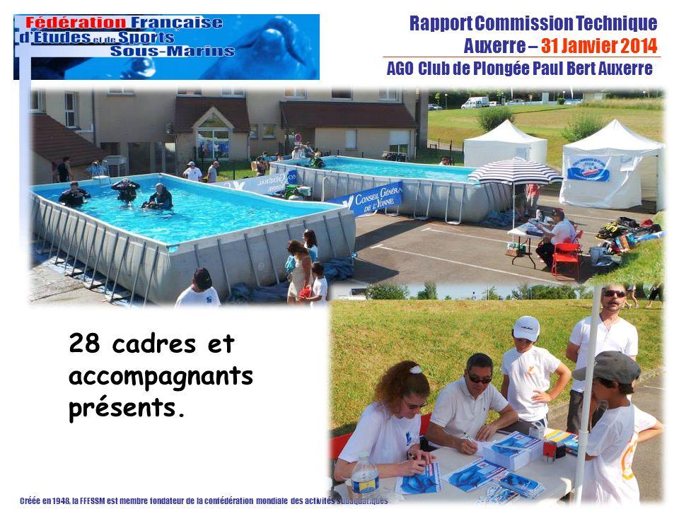 Rapport Commission Technique Auxerre – 31 Janvier 2014 Créée en 1948, la FFESSM est membre fondateur de la confédération mondiale des activités subaquatiques AGO Club de Plongée Paul Bert Auxerre 28 cadres et accompagnants présents.
