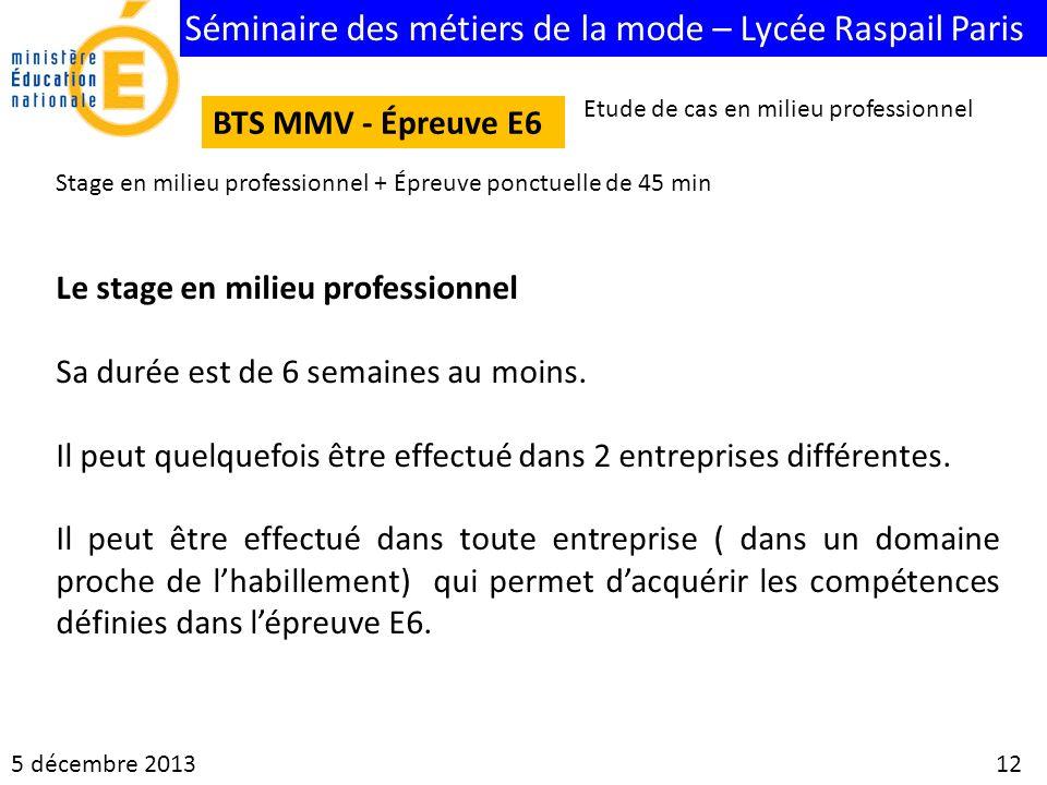 Séminaire des métiers de la mode – Lycée Raspail Paris 5 décembre 2013 12 BTS MMV - Épreuve E6 Etude de cas en milieu professionnel Stage en milieu pr