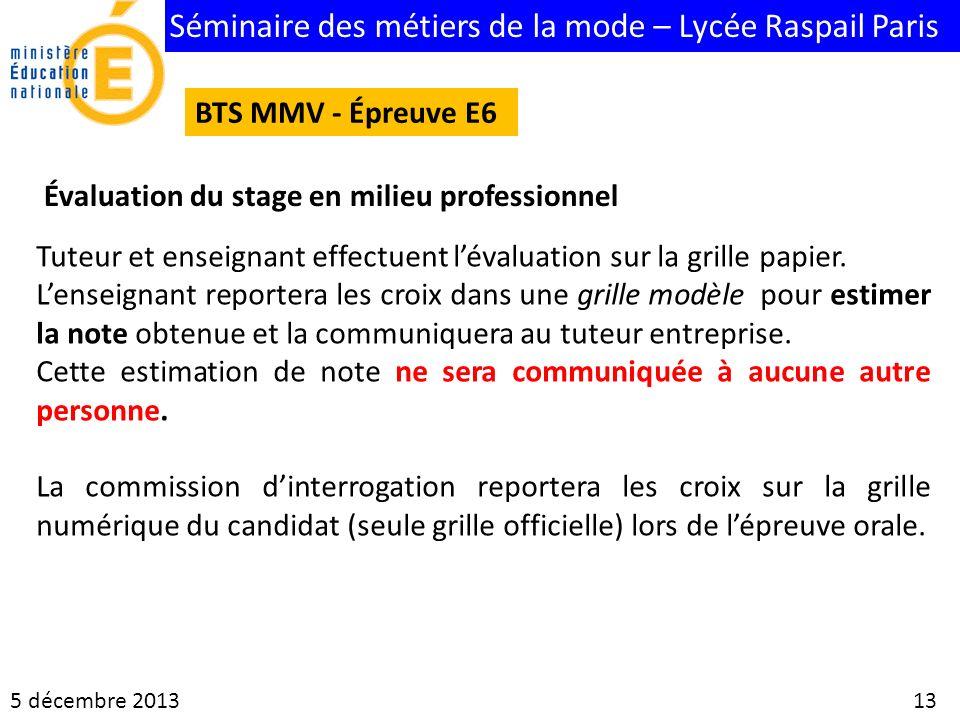 Séminaire des métiers de la mode – Lycée Raspail Paris 5 décembre 2013 13 BTS MMV - Épreuve E6 Évaluation du stage en milieu professionnel Tuteur et e
