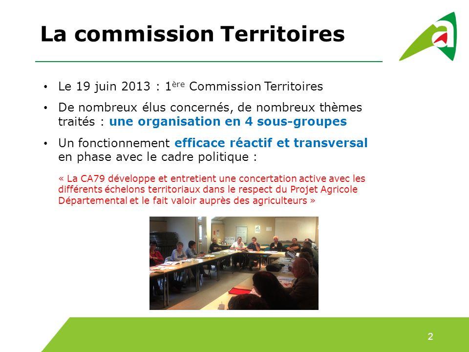La commission Territoires 2 Le 19 juin 2013 : 1 ère Commission Territoires De nombreux élus concernés, de nombreux thèmes traités : une organisation e