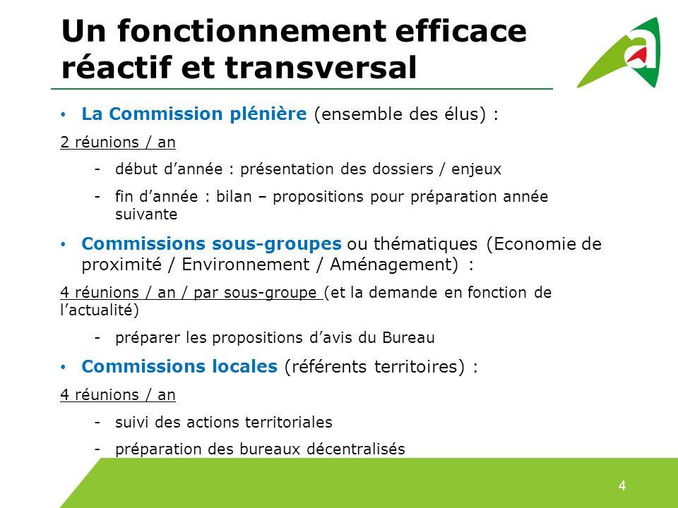 Un fonctionnement efficace réactif et transversal 4 La Commission plénière (ensemble des élus) : 2 réunions / an -début dannée : présentation des doss