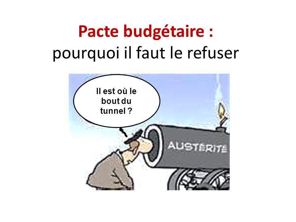 Pacte budgétaire : pourquoi il faut le refuser Il est où le bout du tunnel ?