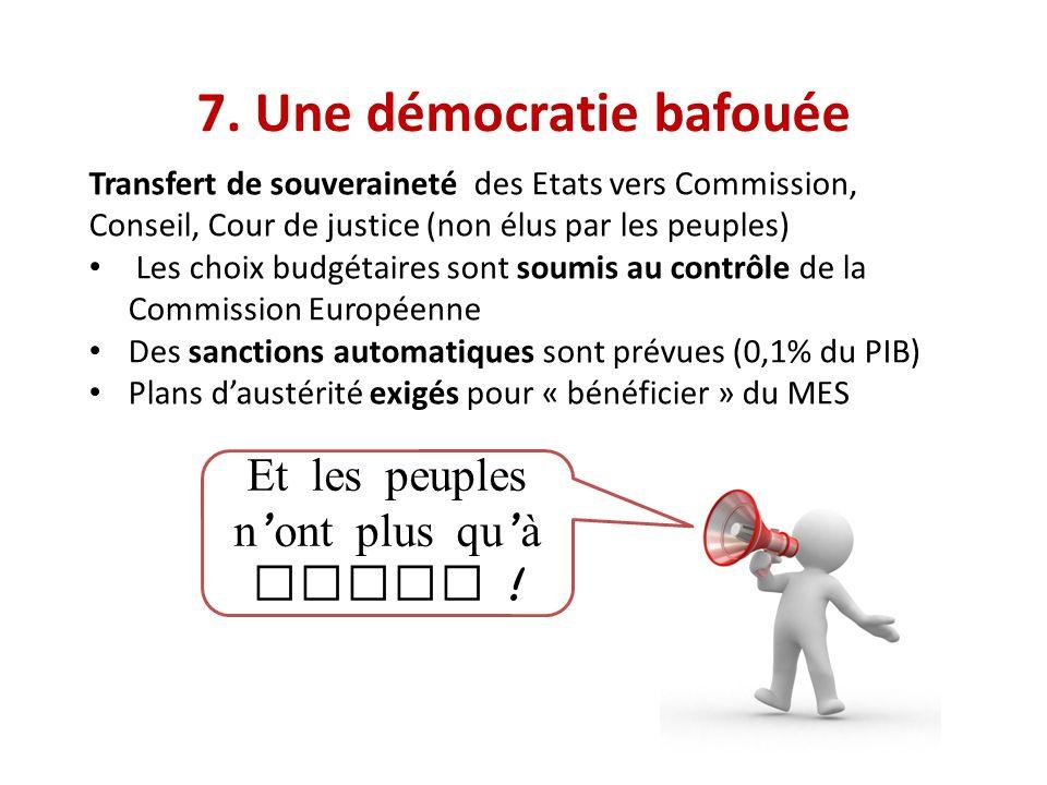7. Une démocratie bafouée Transfert de souveraineté des Etats vers Commission, Conseil, Cour de justice (non élus par les peuples) Les choix budgétair
