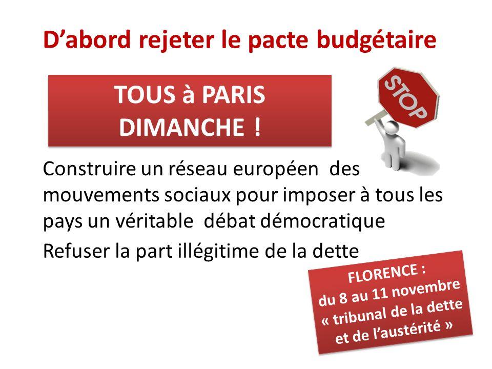 Dabord rejeter le pacte budgétaire Construire un réseau européen des mouvements sociaux pour imposer à tous les pays un véritable débat démocratique R