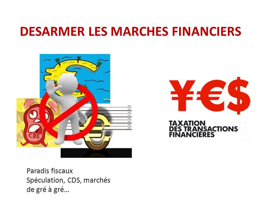 DESARMER LES MARCHES FINANCIERS Paradis fiscaux Spéculation, CDS, marchés de gré à gré…