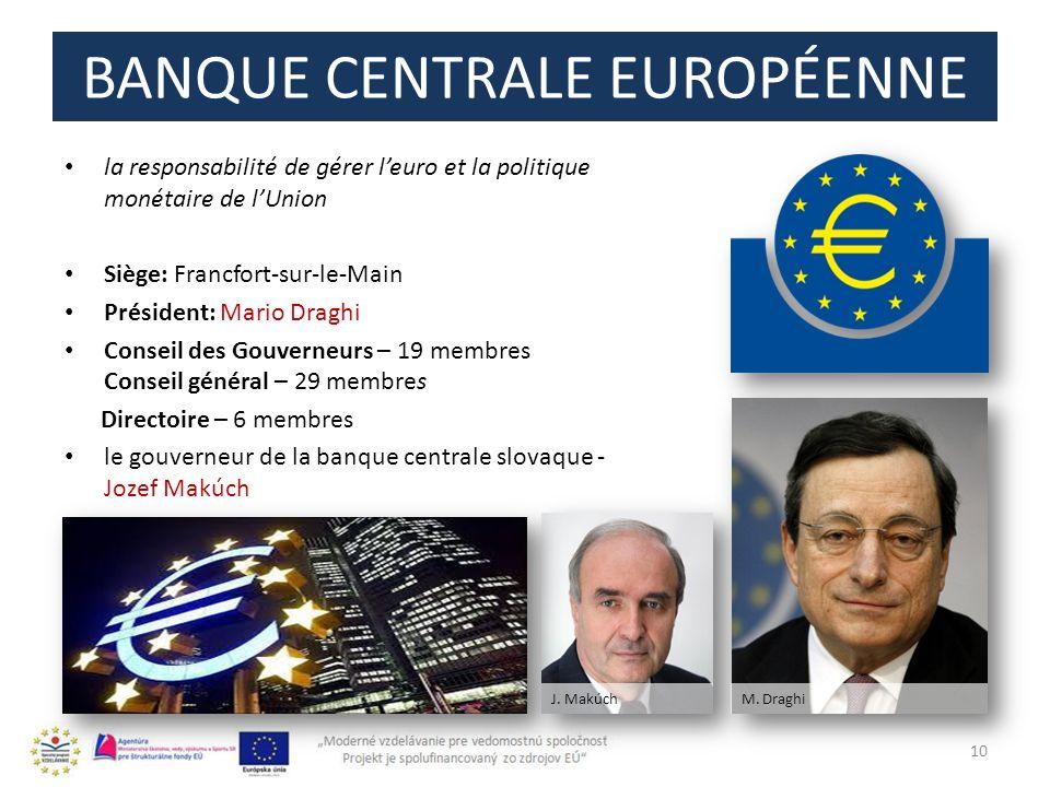 BANQUE CENTRALE EUROPÉENNE la responsabilité de gérer leuro et la politique monétaire de lUnion Siège: Francfort-sur-le-Main Président: Mario Draghi C