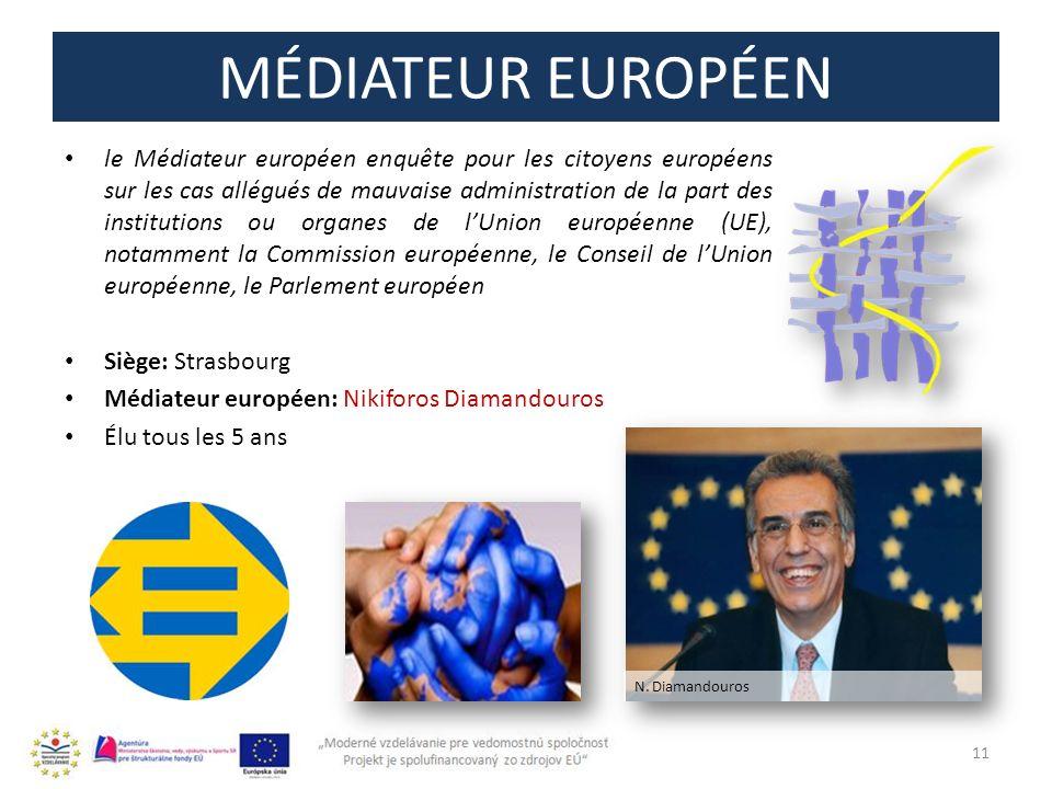MÉDIATEUR EUROPÉEN le Médiateur européen enquête pour les citoyens européens sur les cas allégués de mauvaise administration de la part des institutio
