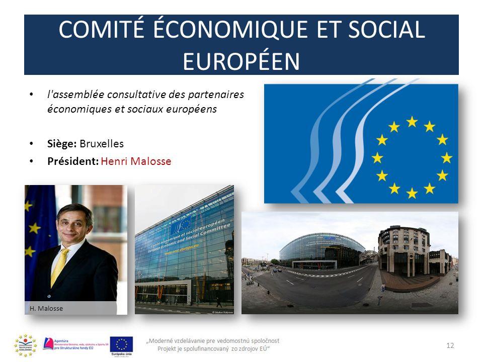 COMITÉ ÉCONOMIQUE ET SOCIAL EUROPÉEN 12 l'assemblée consultative des partenaires économiques et sociaux européens Siège: Bruxelles Président: Henri Ma