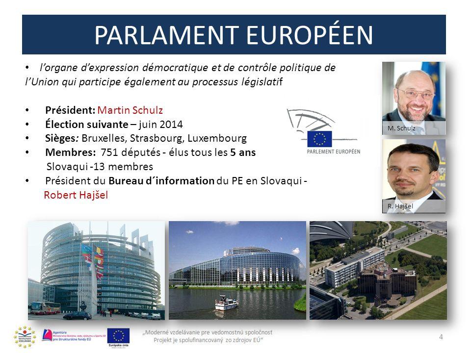 PARLAMENT EUROPÉEN 4 lorgane dexpression démocratique et de contrôle politique de lUnion qui participe également au processus législatif Président: Ma