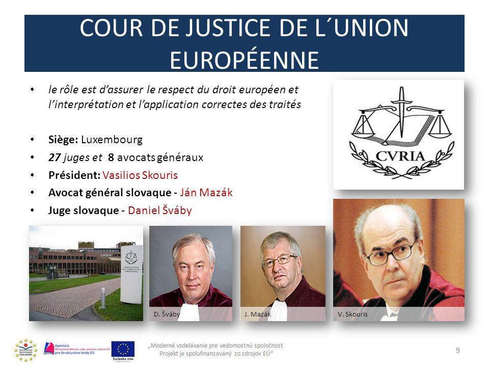 COUR DE JUSTICE DE L´UNION EUROPÉENNE le rôle est dassurer le respect du droit européen et linterprétation et lapplication correctes des traités Siège