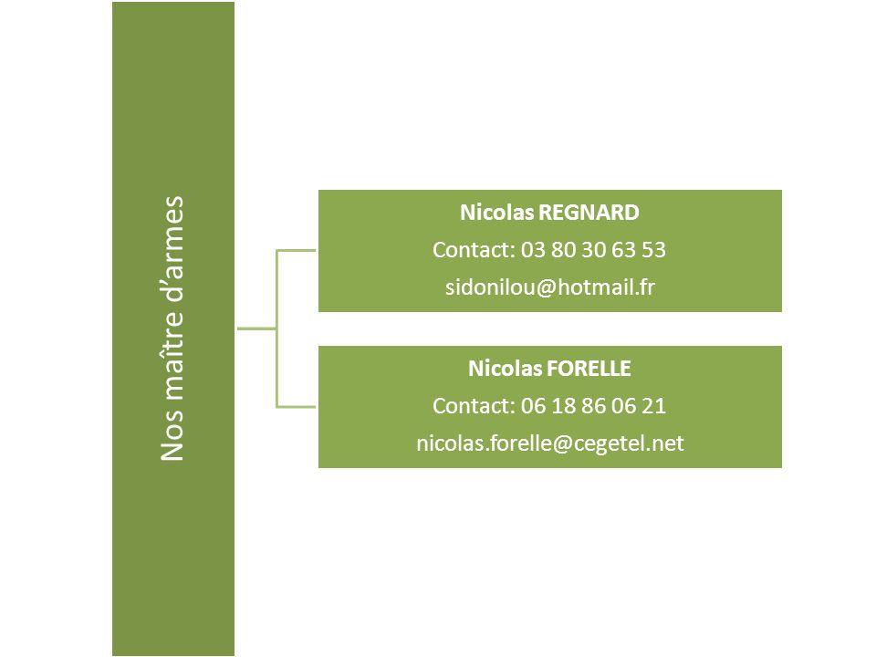 Nos maître darmes Nicolas REGNARD Contact: 03 80 30 63 53 sidonilou@hotmail.fr Nicolas FORELLE Contact: 06 18 86 06 21 nicolas.forelle@cegetel.net