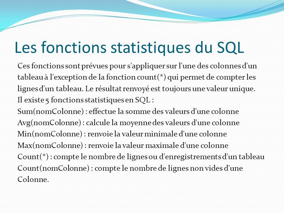 Les fonctions statistiques du SQL Ces fonctions sont prévues pour s'appliquer sur l'une des colonnes d'un tableau à l'exception de la fonction count(*