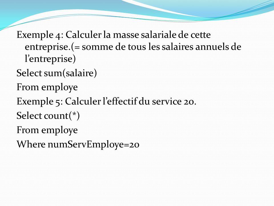 Exemple 4: Calculer la masse salariale de cette entreprise.(= somme de tous les salaires annuels de lentreprise) Select sum(salaire) From employe Exem