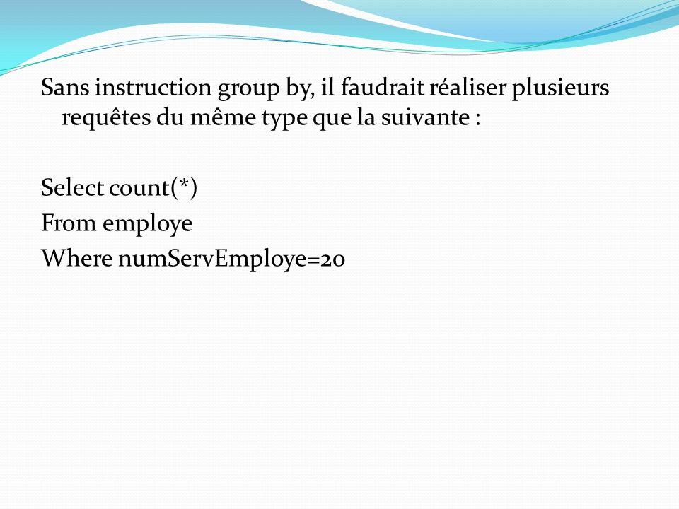 Sans instruction group by, il faudrait réaliser plusieurs requêtes du même type que la suivante : Select count(*) From employe Where numServEmploye=20