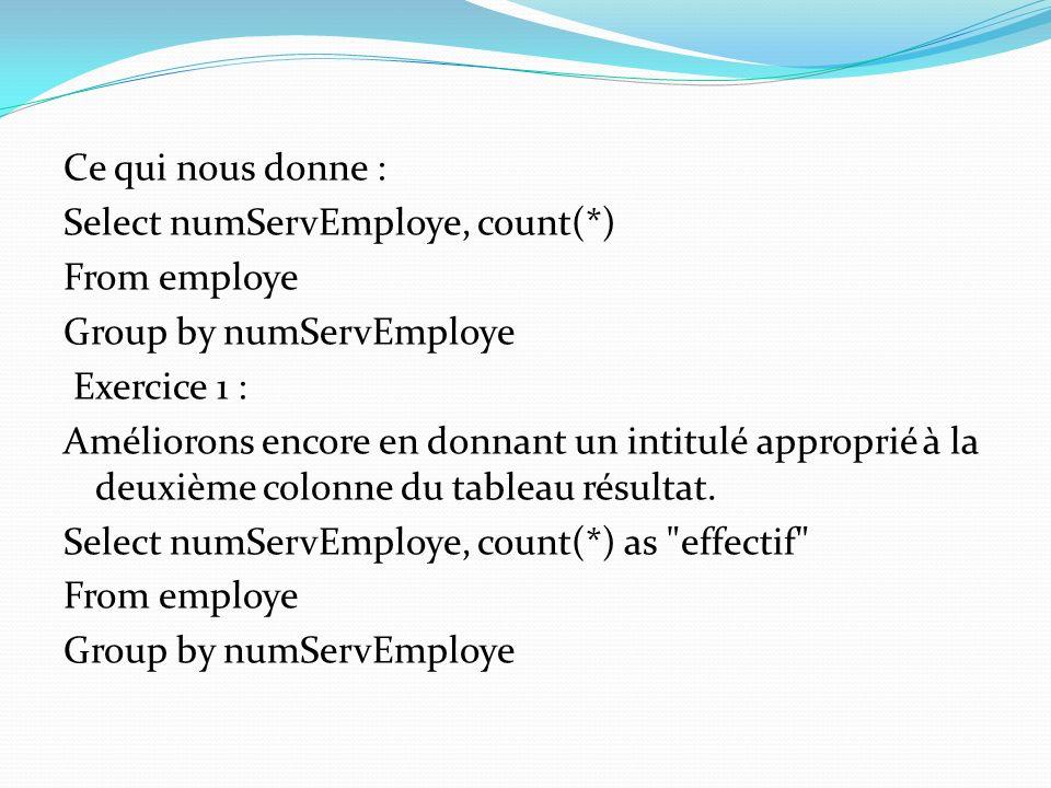 Ce qui nous donne : Select numServEmploye, count(*) From employe Group by numServEmploye Exercice 1 : Améliorons encore en donnant un intitulé appropr