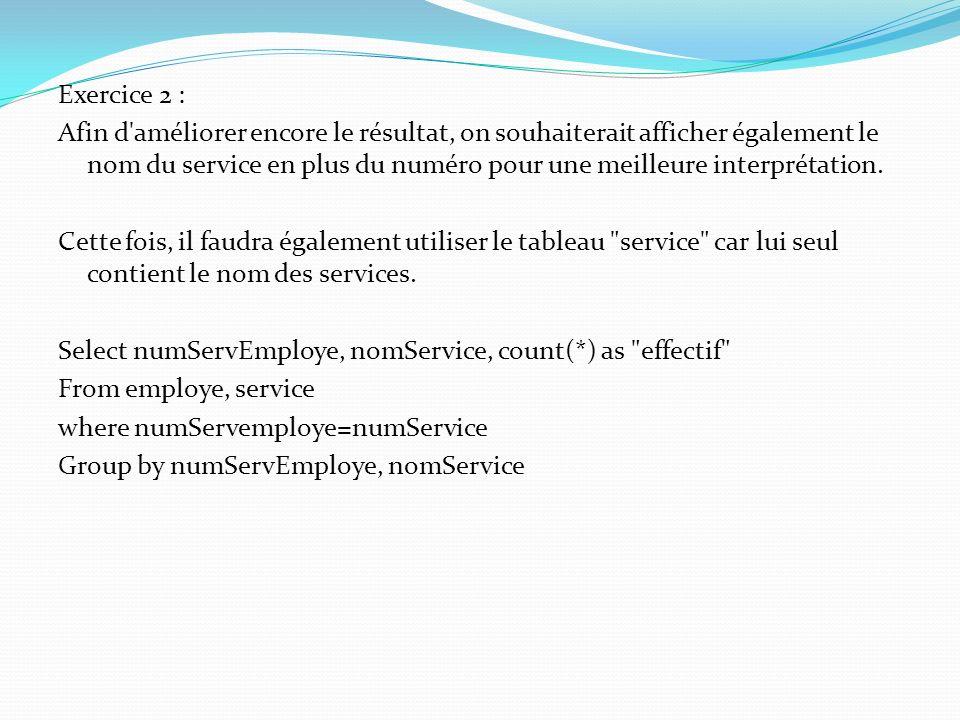 Exercice 2 : Afin d'améliorer encore le résultat, on souhaiterait afficher également le nom du service en plus du numéro pour une meilleure interpréta