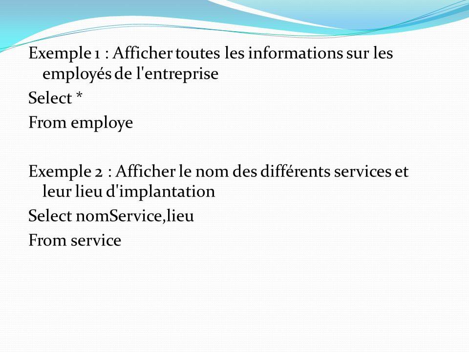 Exemple 1 : Afficher toutes les informations sur les employés de l'entreprise Select * From employe Exemple 2 : Afficher le nom des différents service