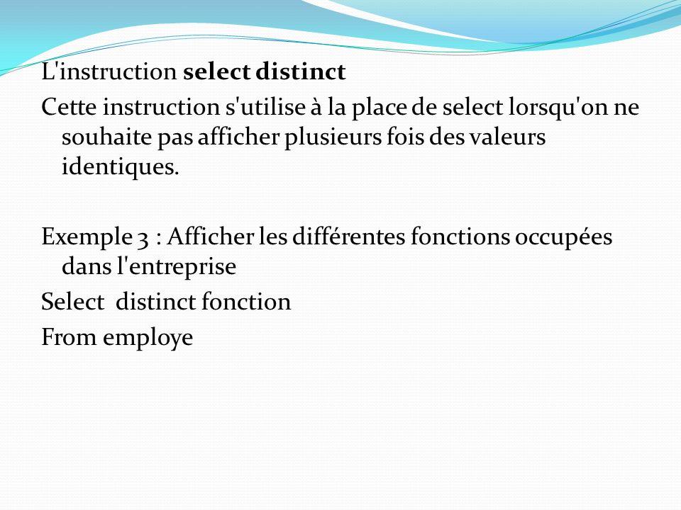 L'instruction select distinct Cette instruction s'utilise à la place de select lorsqu'on ne souhaite pas afficher plusieurs fois des valeurs identique