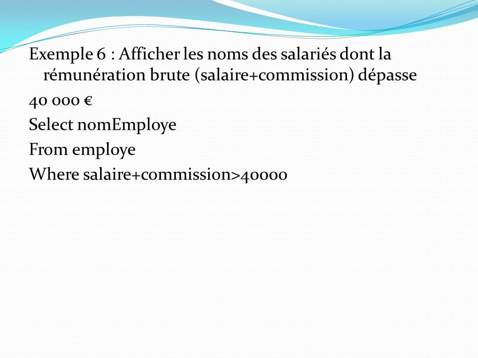 Exemple 6 : Afficher les noms des salariés dont la rémunération brute (salaire+commission) dépasse 40 000 Select nomEmploye From employe Where salaire
