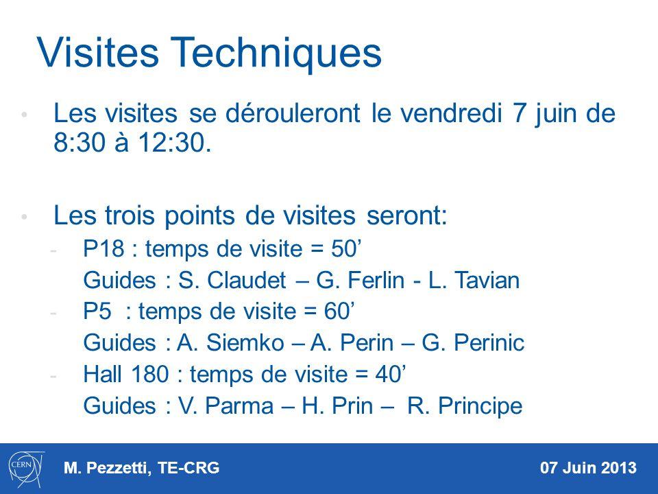 M. Pezzetti, TE-CRG 07 Juin 2013 Visites Techniques Les visites se dérouleront le vendredi 7 juin de 8:30 à 12:30. Les trois points de visites seront: