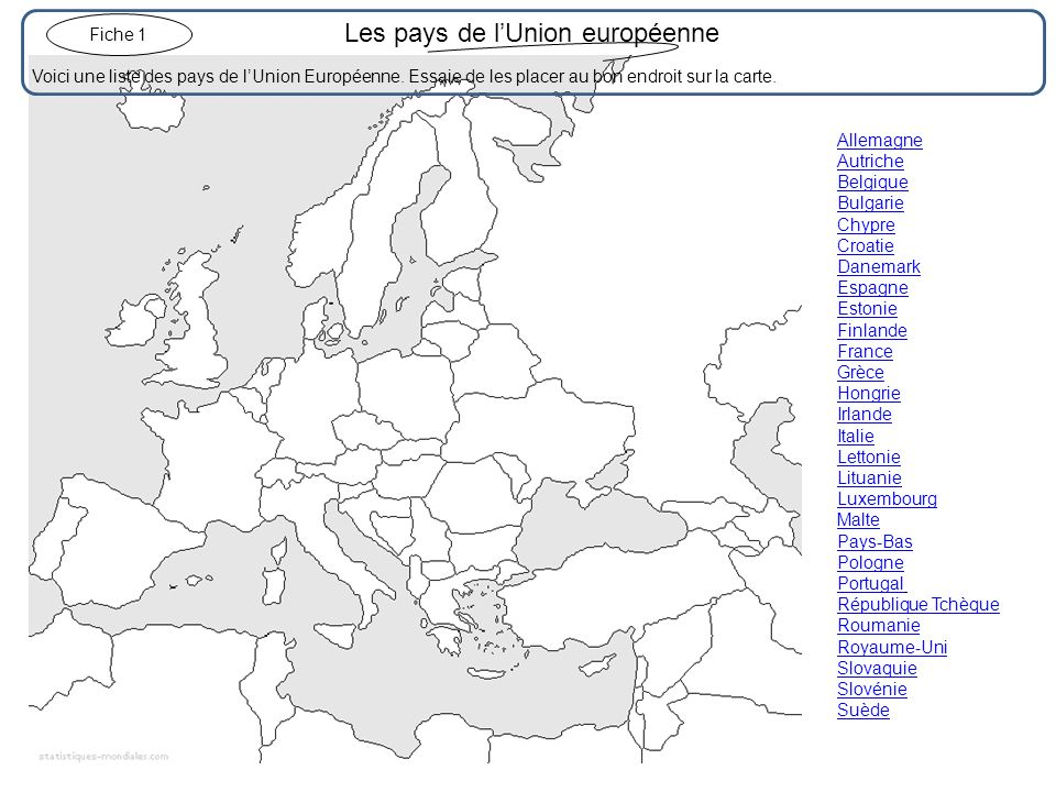 Les pays de lUnion européenne (correction).