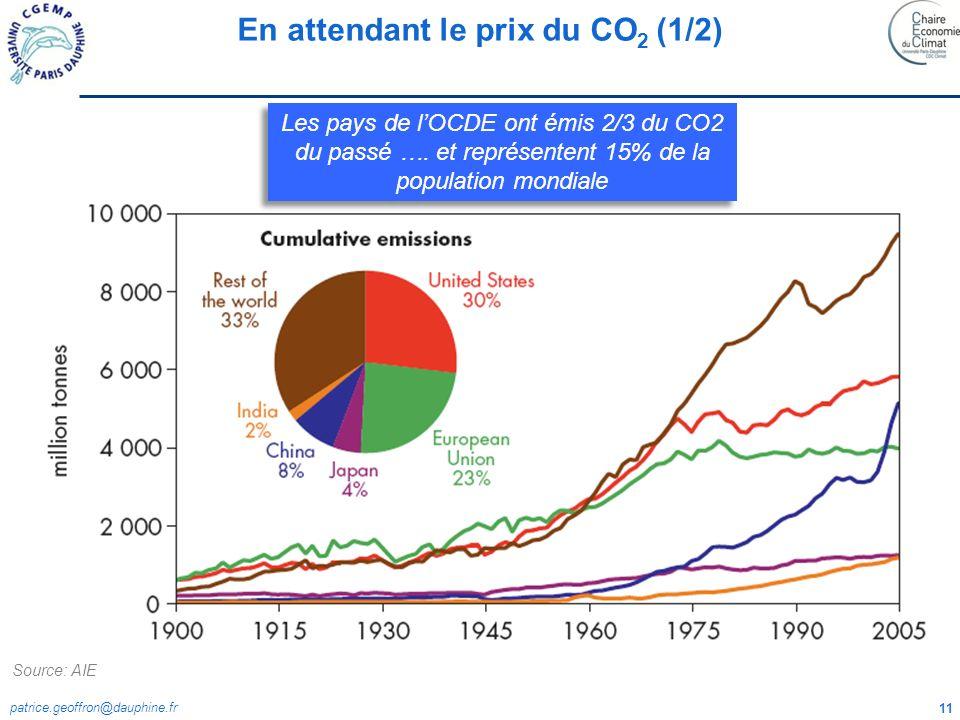 patrice.geoffron@dauphine.fr 11 Les pays de lOCDE ont émis 2/3 du CO2 du passé …. et représentent 15% de la population mondiale En attendant le prix d