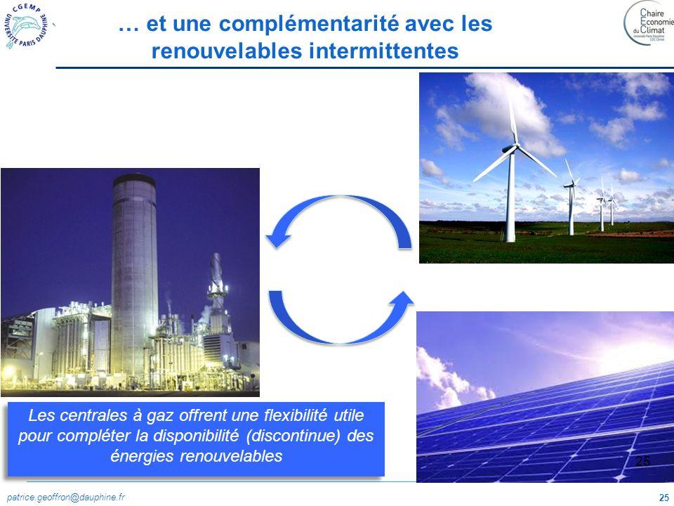 patrice.geoffron@dauphine.fr 25 … et une complémentarité avec les renouvelables intermittentes Les centrales à gaz offrent une flexibilité utile pour