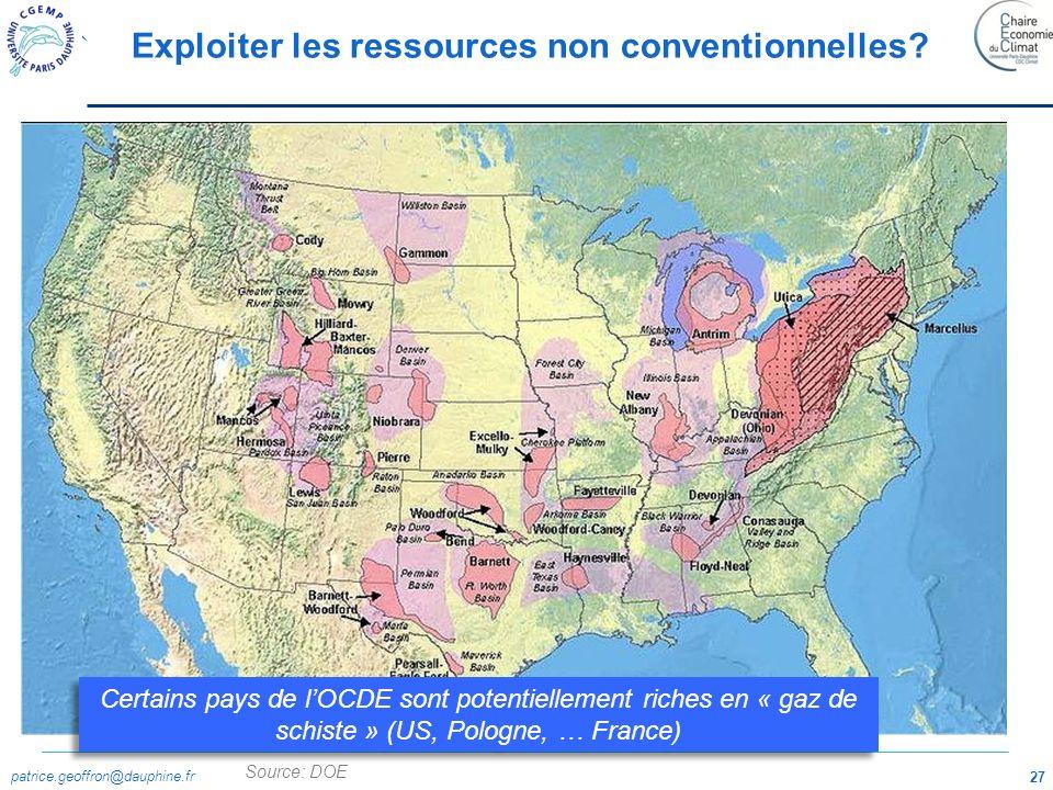 patrice.geoffron@dauphine.fr 27 Source: DOE Exploiter les ressources non conventionnelles? Certains pays de lOCDE sont potentiellement riches en « gaz
