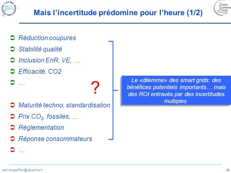 patrice.geoffron@dauphine.fr 35 Mais lincertitude prédomine pour lheure (1/2) Réduction coupures Stabilité qualité Inclusion EnR, VE, … Efficacité, CO