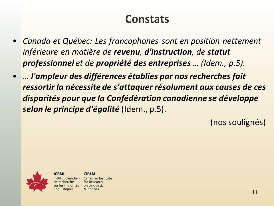 Constats Canada et Québec: Les francophones sont en position nettement inférieure en matière de revenu, d instruction, de statut professionnel et de propriété des entreprises … (Idem., p.5).