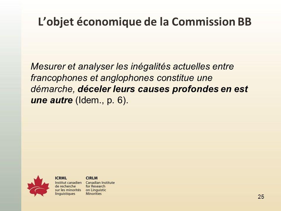 Lobjet économique de la Commission BB Mesurer et analyser les inégalités actuelles entre francophones et anglophones constitue une démarche, déceler leurs causes profondes en est une autre (Idem., p.