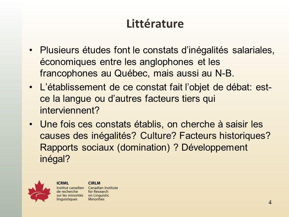 Littérature Plusieurs études font le constats dinégalités salariales, économiques entre les anglophones et les francophones au Québec, mais aussi au N-B.