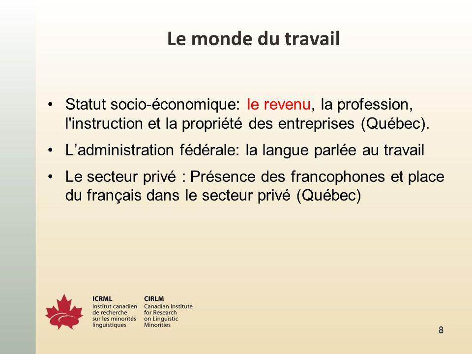 Le monde du travail Statut socio-économique: le revenu, la profession, l'instruction et la propriété des entreprises (Québec). Ladministration fédéral