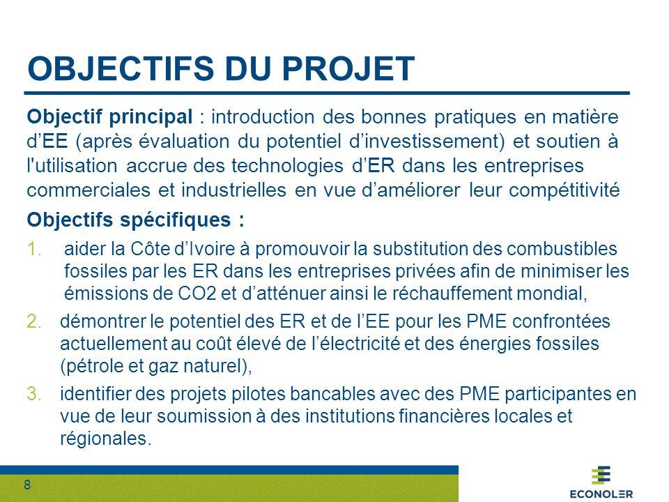 9 PRINCIPALES ACTIVITÉS Composantes du projet = 2 Composante 1 : Évaluation du potentiel dinvestissement dans les ER et lEE par les PME Promouvoir la substitution des combustibles fossiles par des ER Promouvoir lURE dans les entreprises privées Activité 1 : Rencontrer la CCI-CI pour ressortir les priorités par filières Activité 2 : Déterminer les sous-secteurs/filières les plus prometteurs pour la réalisation des études Activité 3 : Enquête dans les filières retenues afin dévaluer le potentiel dinvestissement en EE et ER en se basant sur un échantillon de PME Activité 4 : Identifier clairement les sous-secteurs/filières présentant les meilleurs potentiels dinvestissements et quantifier ce potentiel dans un certain nombre de PME de la zone urbaine et périurbaine dAbidjan