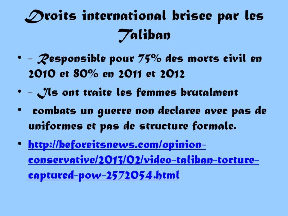 Droits international brisee par les Taliban - Responsible pour 75% des morts civil en 2010 et 80% en 2011 et 2012 - Ils ont traite les femmes brutalment combats un guerre non declaree avec pas de uniformes et pas de structure formale.