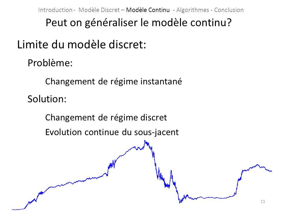 Limite du modèle discret: Problème: Changement de régime instantané Solution: Changement de régime discret Evolution continue du sous-jacent 11 Peut o