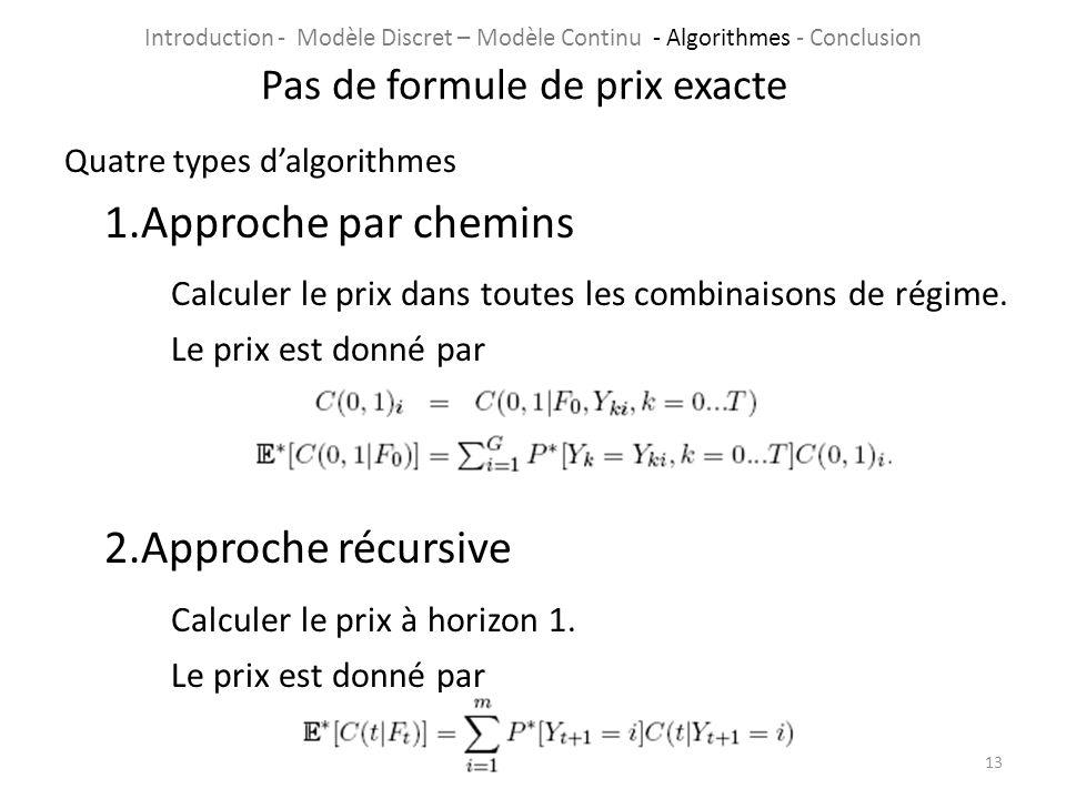 Quatre types dalgorithmes 1.Approche par chemins Calculer le prix dans toutes les combinaisons de régime. Le prix est donné par 2.Approche récursive C