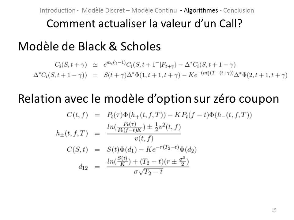 Modèle de Black & Scholes Relation avec le modèle doption sur zéro coupon 15 Comment actualiser la valeur dun Call? Introduction - Modèle Discret – Mo