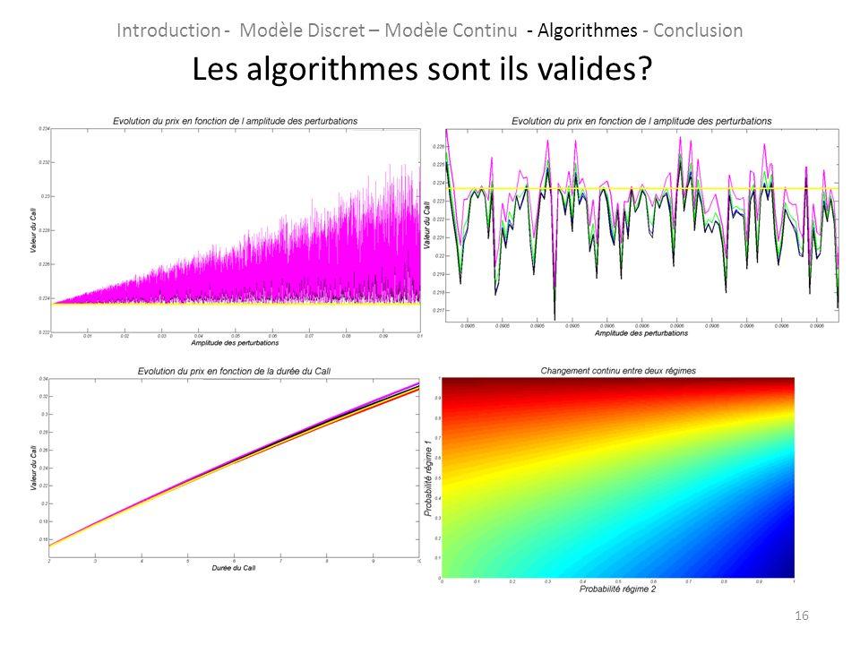 16 Les algorithmes sont ils valides? Introduction - Modèle Discret – Modèle Continu - Algorithmes - Conclusion