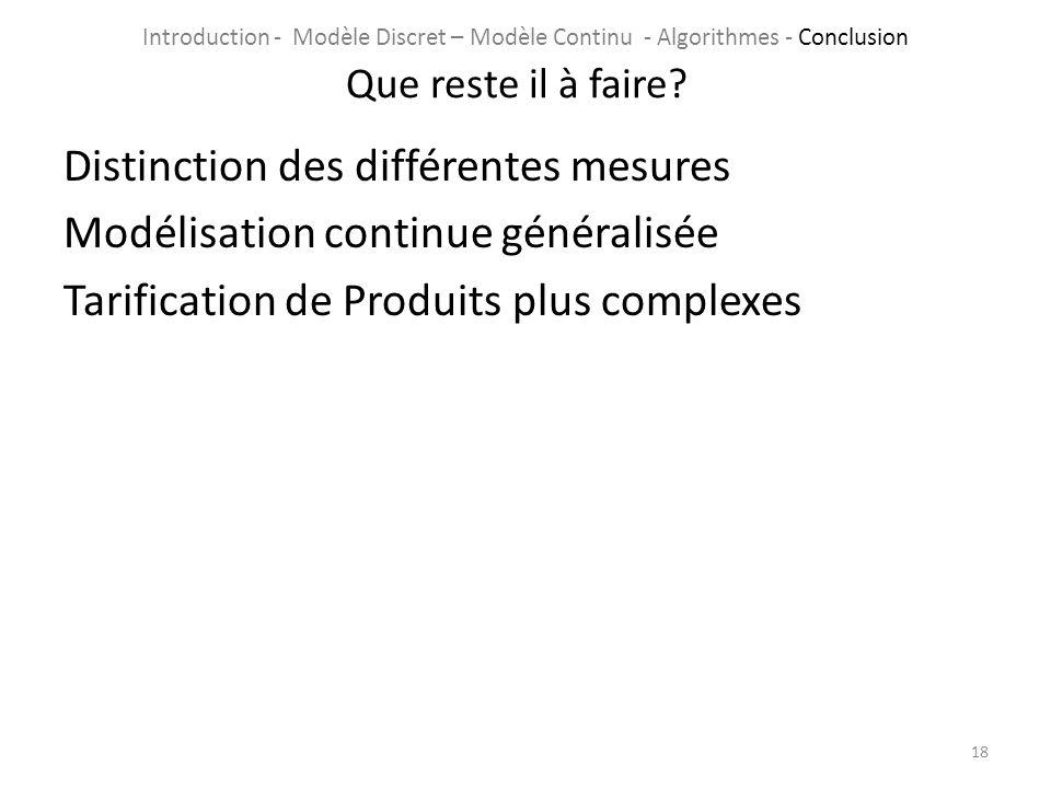 Distinction des différentes mesures Modélisation continue généralisée Tarification de Produits plus complexes 18 Que reste il à faire? Introduction -