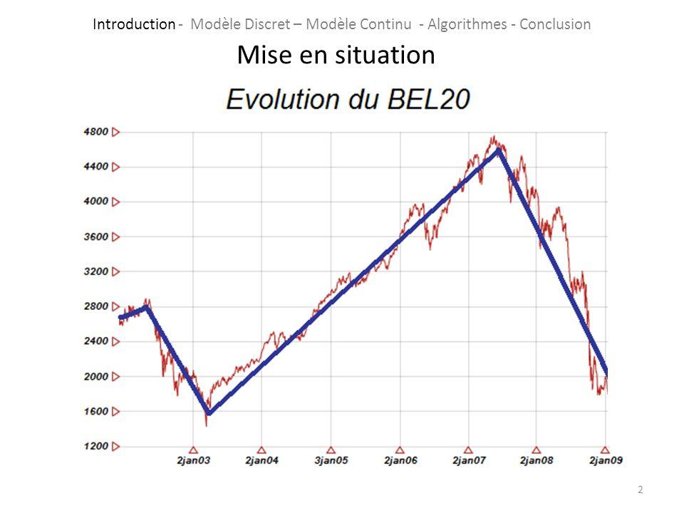 2 Mise en situation Introduction - Modèle Discret – Modèle Continu - Algorithmes - Conclusion