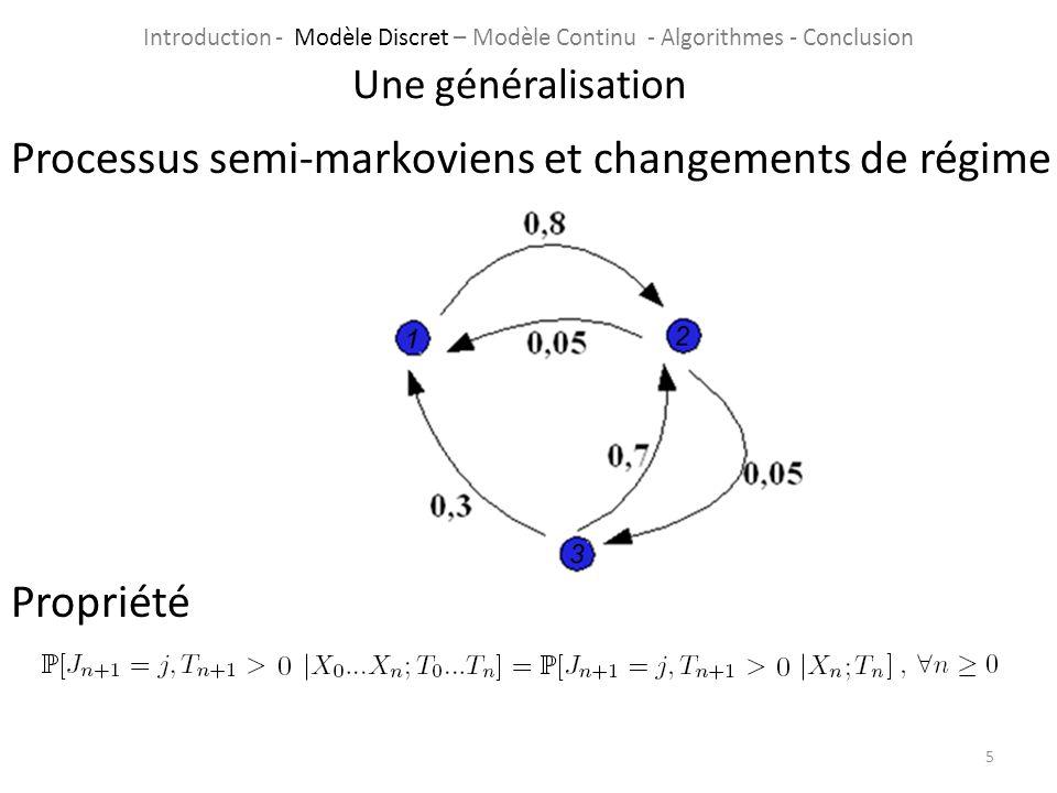 Processus semi-markoviens et changements de régime Propriété 5 Une généralisation Introduction - Modèle Discret – Modèle Continu - Algorithmes - Concl