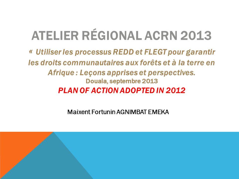 ATELIER RÉGIONAL ACRN 2013 « Utiliser les processus REDD et FLEGT pour garantir les droits communautaires aux forêts et à la terre en Afrique : Leçons
