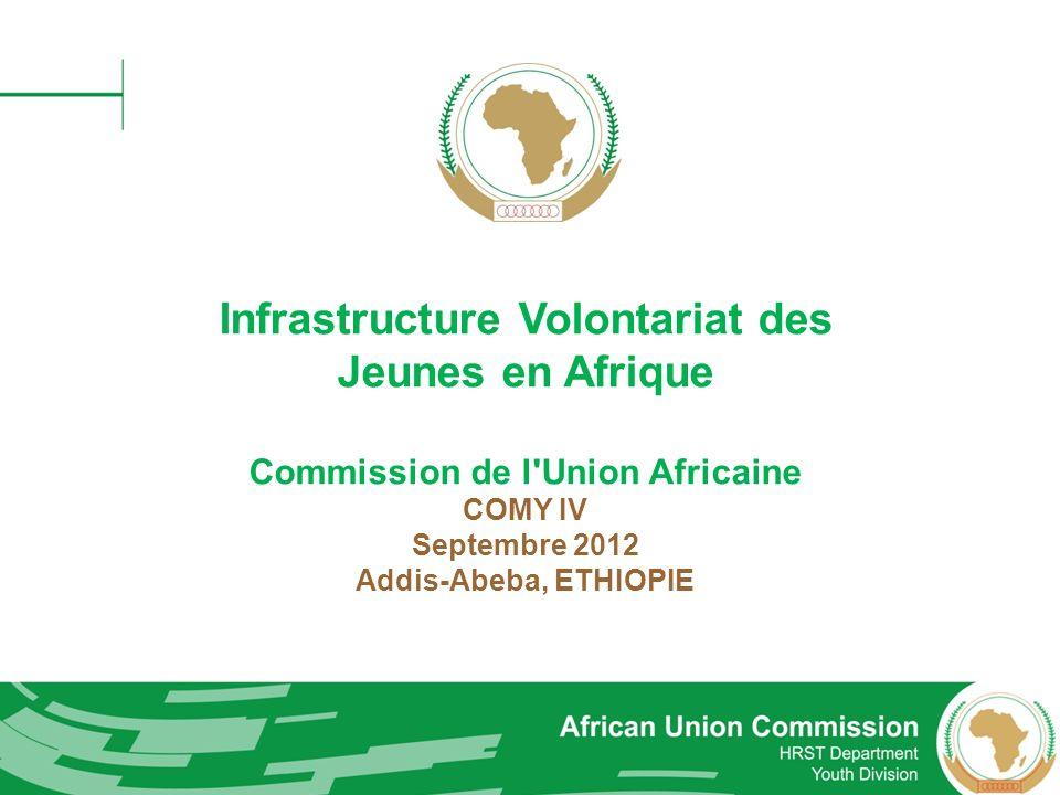 Cadre politique à l institutionnalisation du volontariat de la jeunesse en Afrique Parvenir à une definition commune du volontariat et une appréciation partagée de ses valeurs dans le développement socioéconomique; Promouvoir une politique populaire et ouvert à tous dans tous les États membres et les Communautés économiques régionales; Créer et développer un environnement favorable pour les jeunes de diriger leurs connaissances et leur créativité pour le développement de l Afrique; Promouvoir le concept de volontariat professionnelle chez les jeunes de l Afrique ainsi que les institutions africaines, les organisations et la société dans son ensemble; Proposer des mécanismes de financement durable et fiable grâce à des contributions de - gouvernement, secteur privé et les organisations internationales;