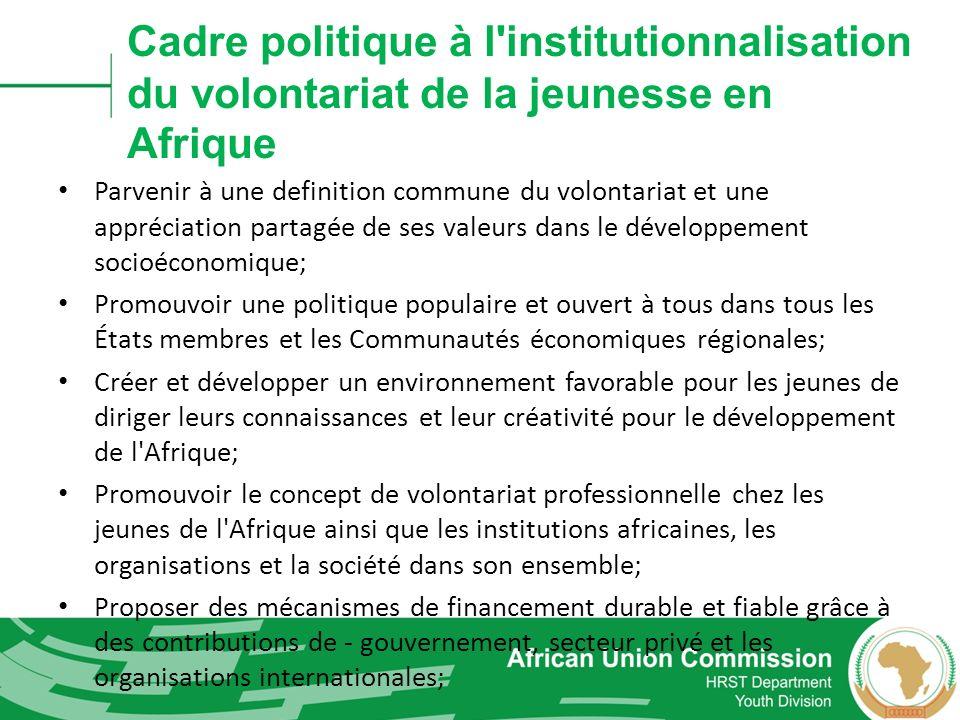 Cadre politique à l'institutionnalisation du volontariat de la jeunesse en Afrique Parvenir à une definition commune du volontariat et une appréciatio